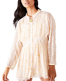 Free People Floral-Print Sheer Lace Mini Shirtdress