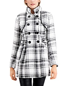 Juniors' Plaid Double-Breasted Faux-Leather-Trimmed Coat