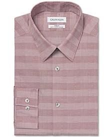 Calvin Klein Men's Steel Slim-Fit Performance Stretch Non-Iron Gray Check Dress Shirt
