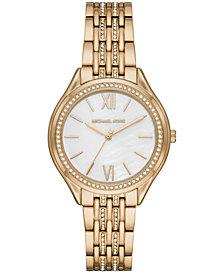 Michael Kors Women's Mindy Gold-Tone Stainless Steel Bracelet Watch 36mm