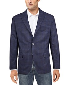 Men's Modern-Fit Navy Plaid Sport Coat