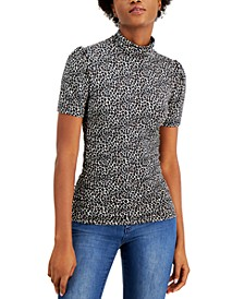 Plus Size Cheetah-Print Mock-Neck Top