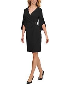 Split-Sleeve Faux-Wrap Dress