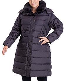 London Fog Plus Size Faux-Fur Collar Hooded Down Puffer Coat