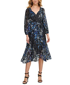 Floral-Print Balloon-Sleeve Faux-Wrap Dress