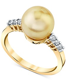 Cultured Golden South Sea Pearl (9mm) & Diamond (1/8 ct. t.w.) Ring in 14k Gold