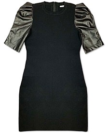Faux-Leather-Contrast Sweater Dress, Created for Macy's