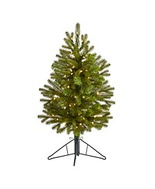 Cambridge Spruce Flat Back Artificial Christmas Tree with 50 Warm Multifunction LED Lights and 113 Bendable Branches