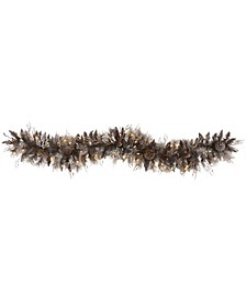 Flocked Artificial Christmas Garland with 50 Warm LED Lights and Pine Cones