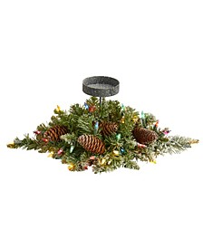 Flocked Artificial Christmas Pine Candelabrum with 35 Lights and Pine Cones