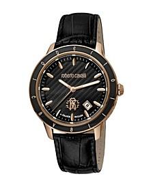 by Franck Muller Men's Swiss Quartz Black Leather Strap Watch 42mm