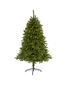 "Sierra Spruce ""Natural Look"" Artificial Christmas Tree with 200 Clear LED Lights"