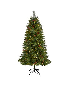 Aberdeen Spruce Artificial Christmas Tree with 350 Clear LED Lights, Pine Cones and Berries