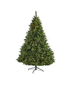 West Virginia Full Bodied Mixed Pine Artificial Christmas Tree with 600 Clear LED Lights and Pine Cones