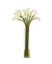 Calla Lily Artificial Arrangement in Cylinder Vase
