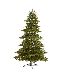 Yukon Mountain Fir Artificial Christmas Tree with 600 Clear Lights, Pine Cones and 1740 Bendable Branches