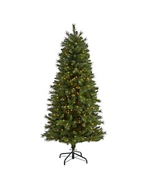 Slim West Virginia Mountain Pine Artificial Christmas Tree with 300 Clear Lights and 629 Bendable Branches