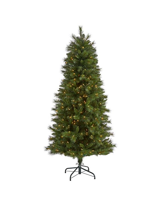 Nearly Natural Slim West Virginia Mountain Pine Artificial Christmas Tree with 300 Clear Lights and 629 Bendable Branches