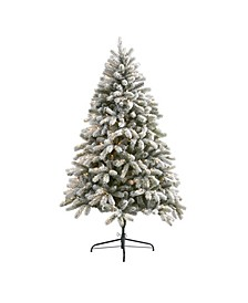 Flocked South Carolina Spruce Artificial Christmas Tree with 450 Clear Lights and 925 Bendable Branches