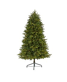 5.Washington Fir Artificial Christmas Tree with 300 Clear Lights and 672 Bendable Branches