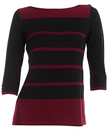 Petite Mila Cotton Striped Sweater, Created for Macy's