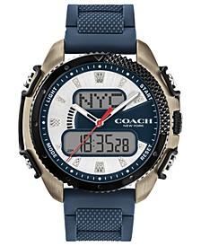 Men's C001 Analog-Digital Navy Silicone Strap Watch 46mm