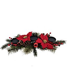 Martha Stewart Red Poinsettia Candleholder Centerpiece, Created for Macys