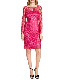 Embroidered Sequinned Sheath Dress