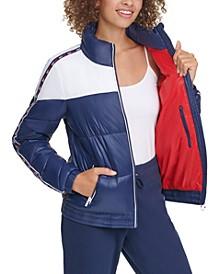 Colorblocked Front-Zip Puffer Coat