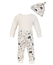 Chick Pea Baby Boy 3PC Thermal Long sleeve Egret Bodysuit and Safari Animal Print Pant and Hat