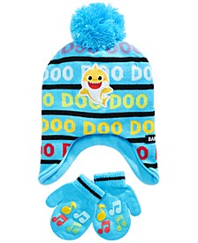 Toddler Boys or Girls Baby Shark Hat & Mittens Set