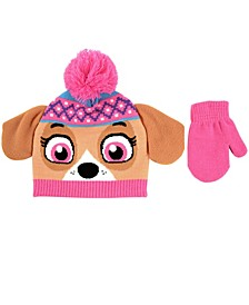 Toddler Girls Paw Patrol 2 Piece Knit Cuff Hat and Matching Mittens Set