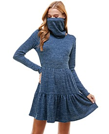 Juniors' Tiered Sweater Dress and Mask