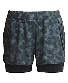 Plus Size Camo-Print Woven Pull-On Shorts, Created for Macy's