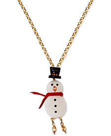 """INC Gold-Tone Crystal Snowman Long Pendant Necklace, 32"""" + 3"""" extender, Created for Macy's"""