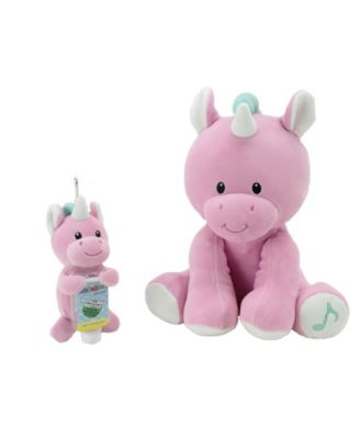 Animal Adventure WelloBeez Musical Clean Crew Plush Unicorn and Plush Keychain with Empty, Refillable Sanitizer Bottle and Child's Face Mask