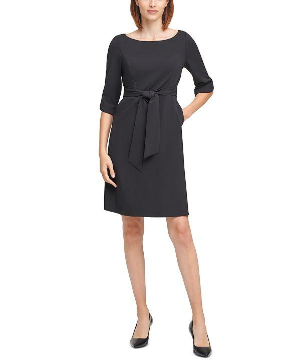 Calvin Klein 3/4-Sleeve Belted Sheath Dress
