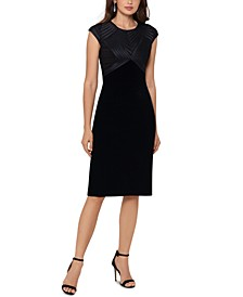 Velvet Cap-Sleeve Sheath Dress