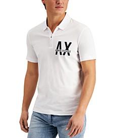 Men's Bold Logo Quarter-Zip Polo Shirt, Created for Macy's