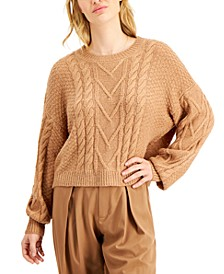 Cable-Knit Balloon-Sleeve Sweater
