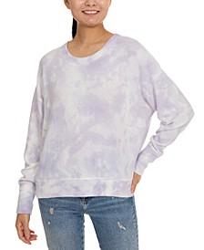 Juniors' Tie-Dye Cozy Drop-Shoulder Top