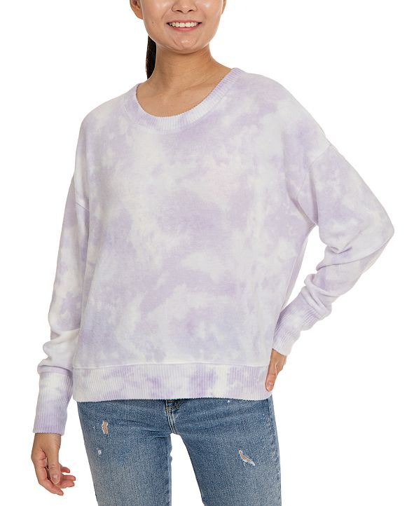 Hippie Rose Juniors' Tie-Dye Cozy Drop-Shoulder Top