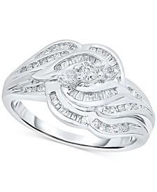 Diamond Baguette Swirl Ring (1/2 ct. t.w.) in Sterling Silver
