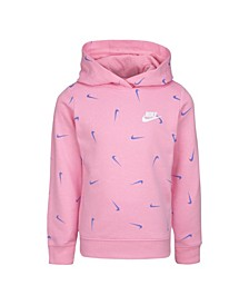 Little Girls French Terry Swoosh Printed Hoodie