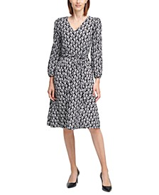 Daisy-Print Belted A-Line Dress