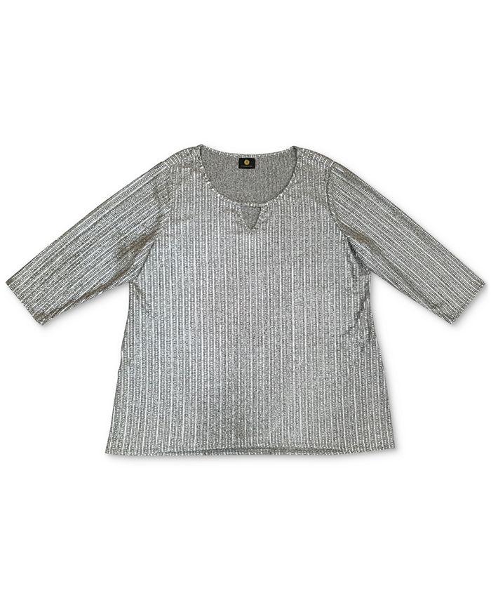 JM Collection - Plus Size Foil Ribbed Knit Top