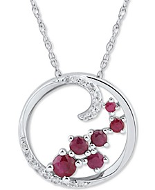 """Emerald (3/8 ct. t.w.) & White Sapphire (1/8 ct. t.w.) Scatter Cluster Open Disc 18"""" Pendant Necklace in Sterling Silver (Also in Ruby & Sapphire)"""