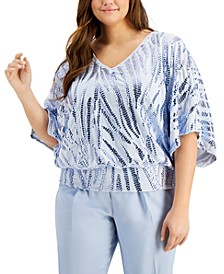 V-Neck Velvet Sequin Dolman-Sleeve Top, Created for Macy's