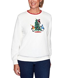Petite Penguin Embroidered Knit Pullover