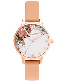 Women's Sparkle Floral Coral Leather Strap Watch 30mm